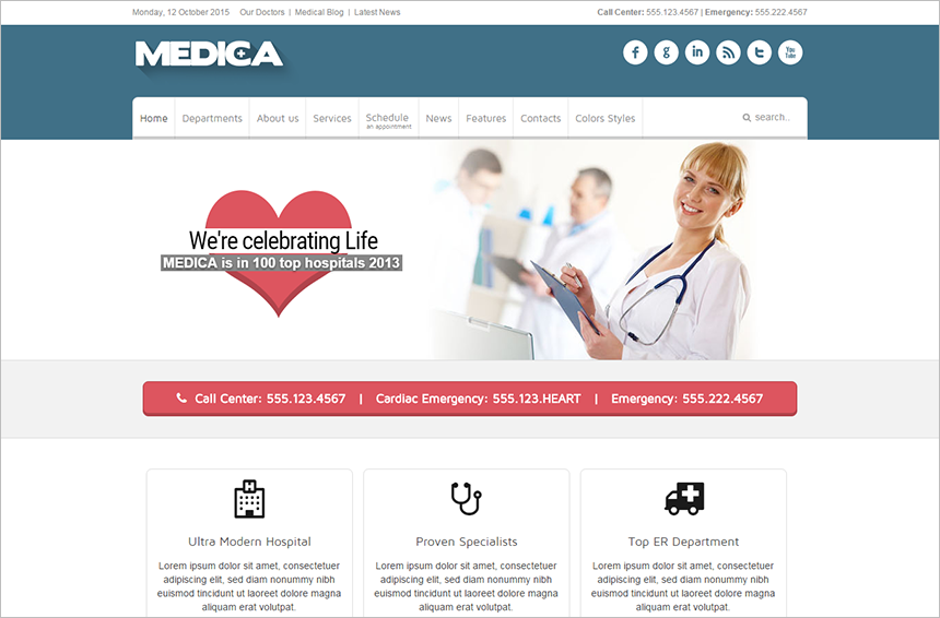 Medical Joomla Theme With Multi Color Variations