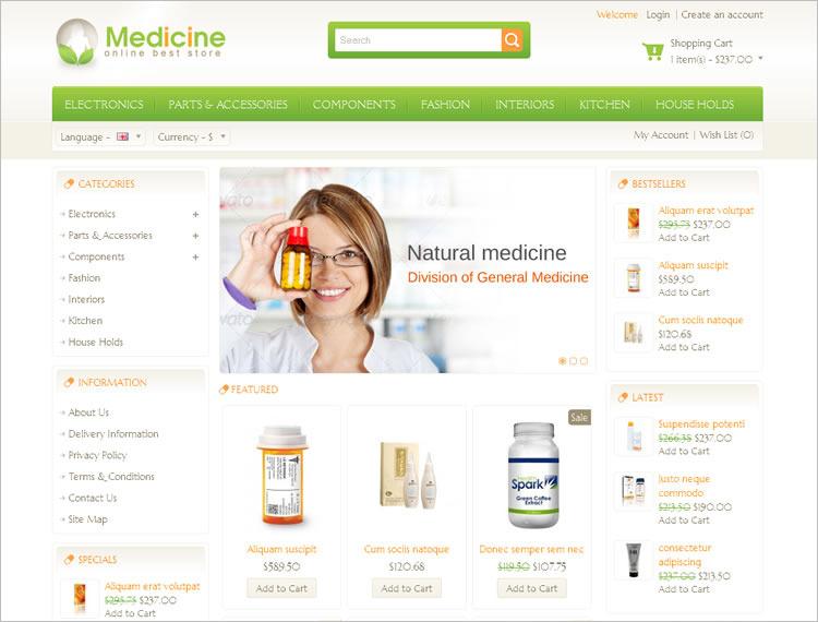 Medical Store Open Cart Template