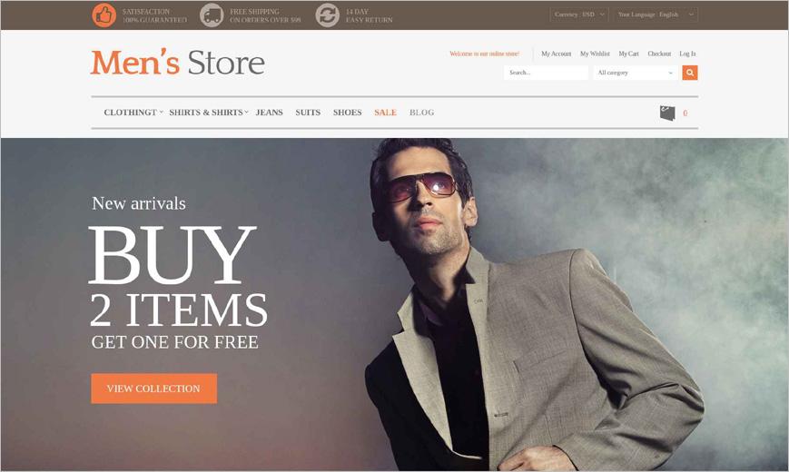 Men's Clothing Online Store Magento Theme