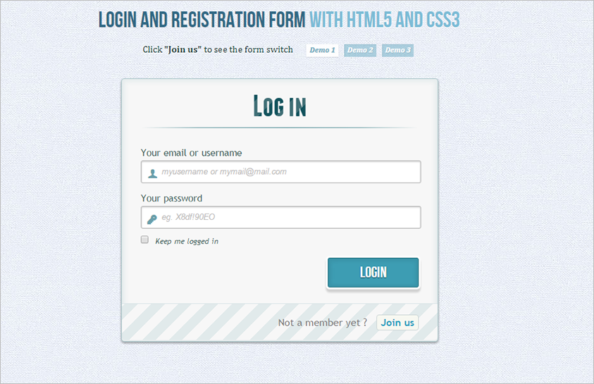 Login & Registration Form with HTML5 and CSS3