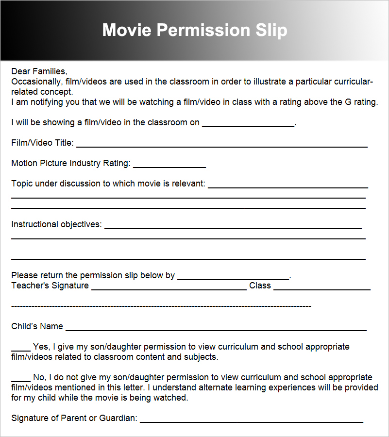 Movie Permission Slip Template