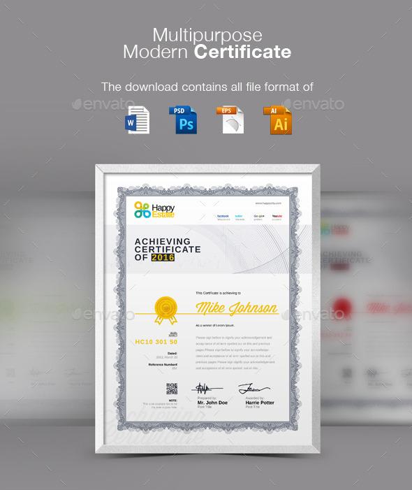 Multi Purpose Modern Certificate Template