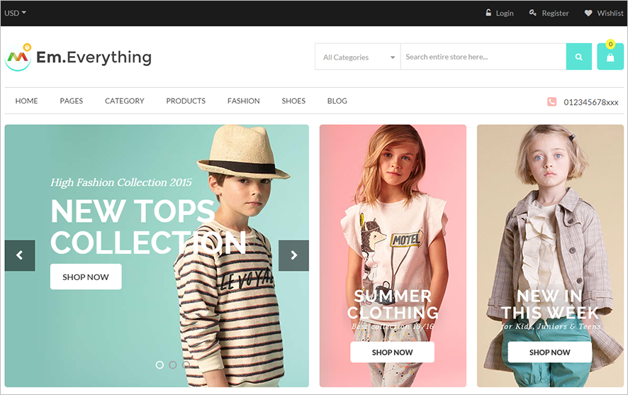 Multi Stores Magento Theme With Different Home Page Layouts