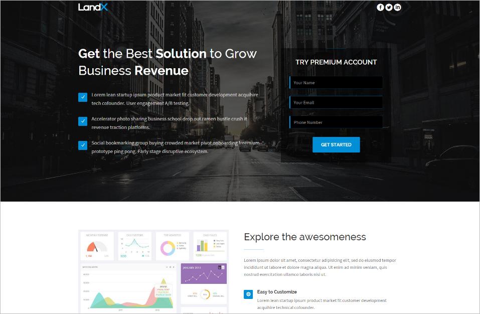 Multipurpose Bootstrap 3 Landing Page