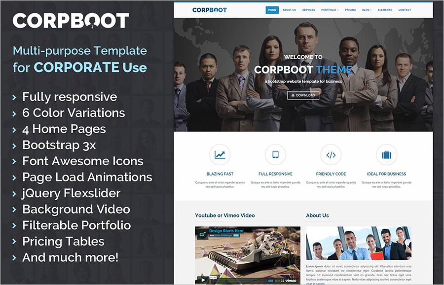 Multipurpose HTML5 Bootstrap Responsive Template Fully Customizable