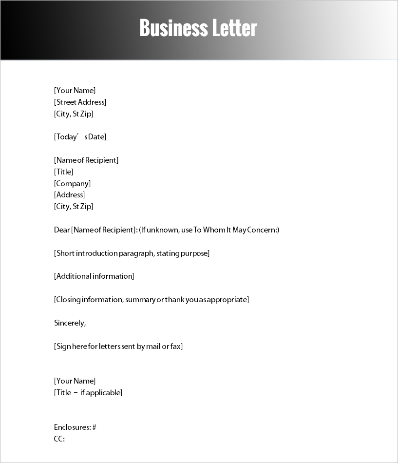 Business Letter Template Word. Sample Business Letters Pdf Formats