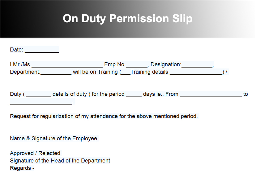 On Duty Permission Slip