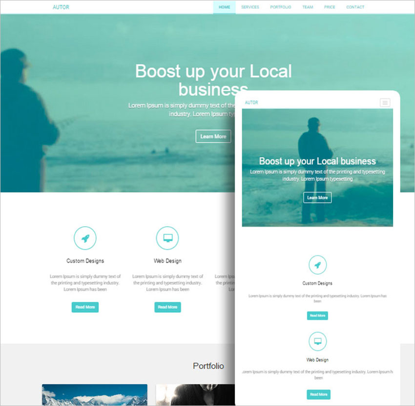 One Page Bootstrap HTML Template