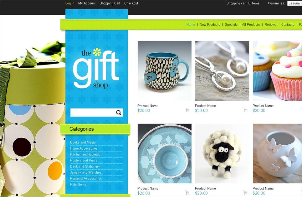 Online Gift Store WedSite ZenCart Template