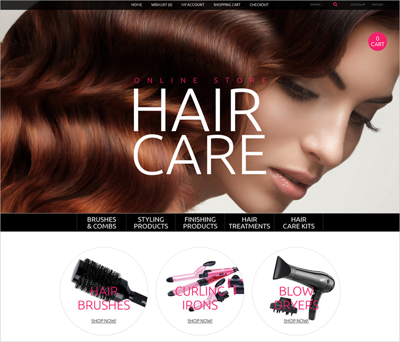 Online Store OpenCart Template for Hair Care