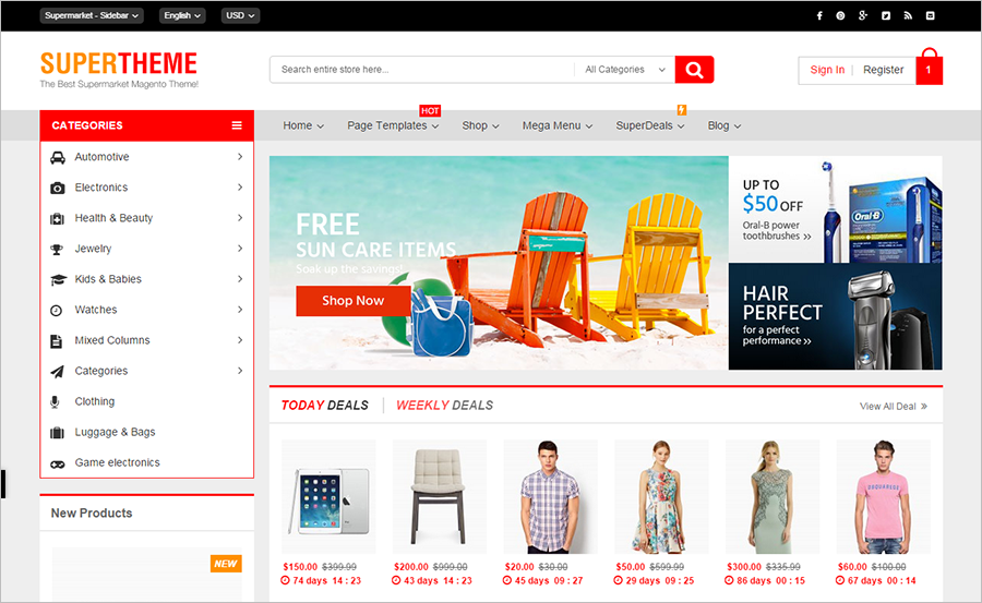 44 best magento ecommerce themes free premium templates for Magento homepage template