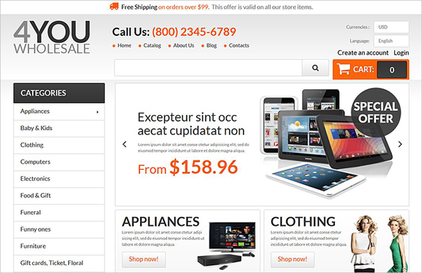 Online Wholesale StorePrestaShop Theme