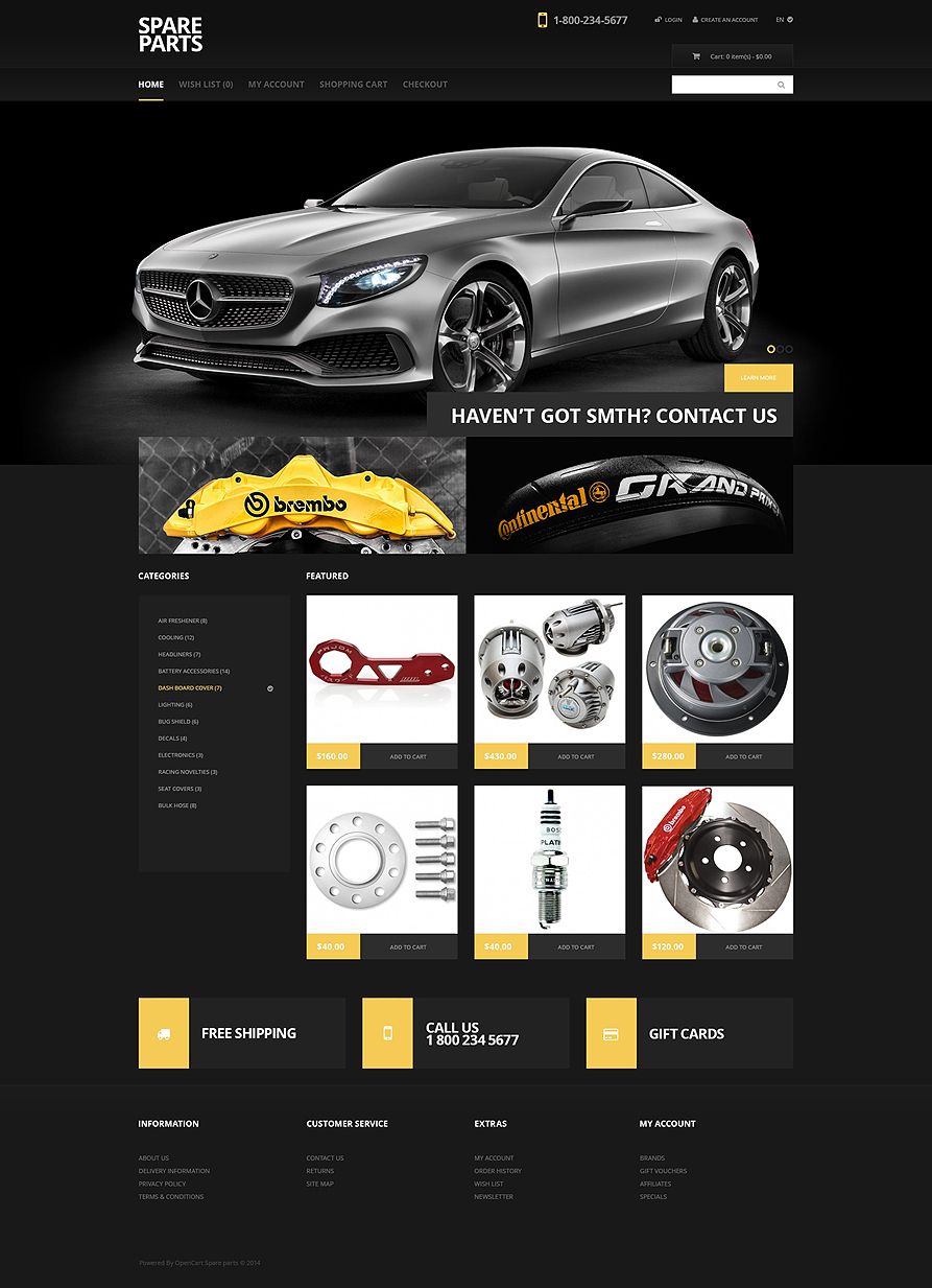 OpenCart Template For Auto Parts