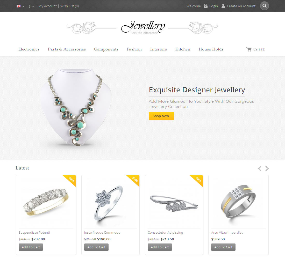 Opencart Responsive Template for Jewellery