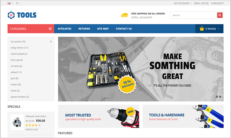 Opencart Responsive Theme for Tools Store