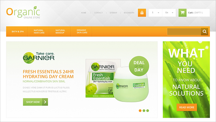 Organic Cosmetics & Beauty Store PrestaShop Template