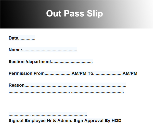 Out Pass Slip Template  Free Pass Template