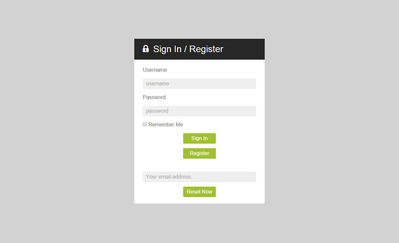 PHP Dashboard Login Form Template