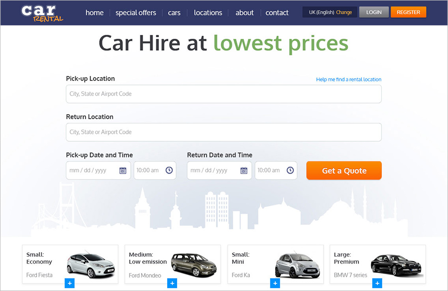 PHP Template For Car Rental Website
