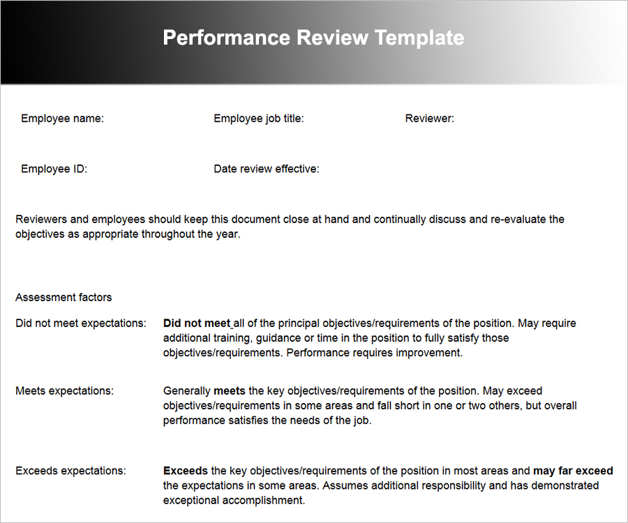 Employee Performance Review Templates Free Word Excel Formats