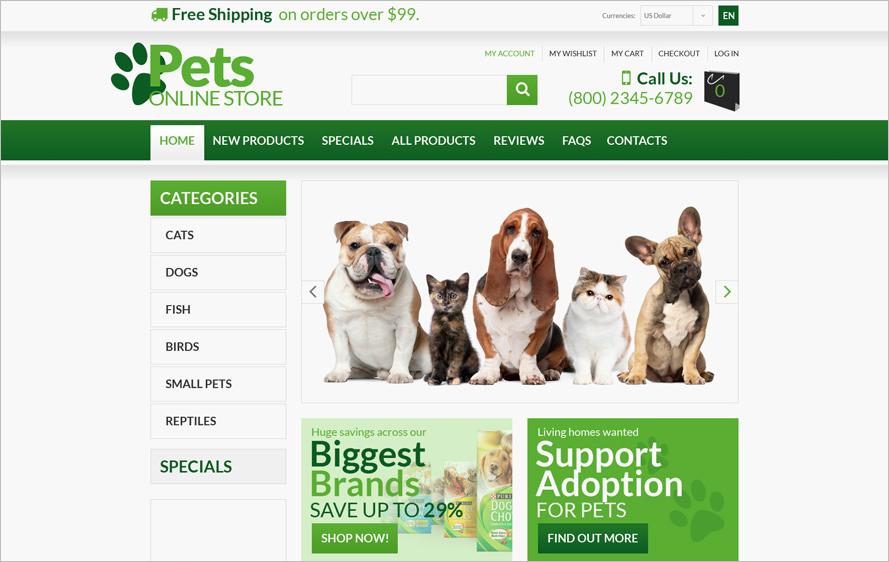 Pets Online Store ZenCart Template