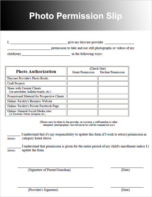 36 permission slip templates free pdf doc formats for Photography permission form template