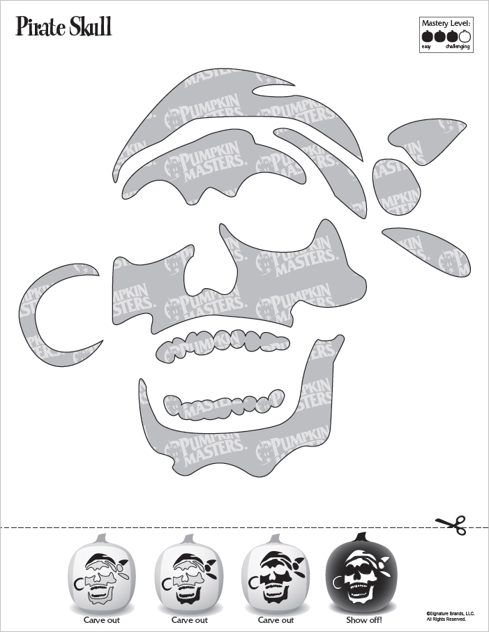 Pirate Skull Pumpkin Carving Pattern