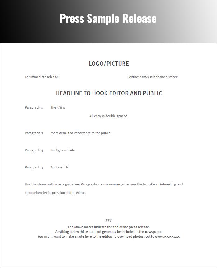 press release sample pdf