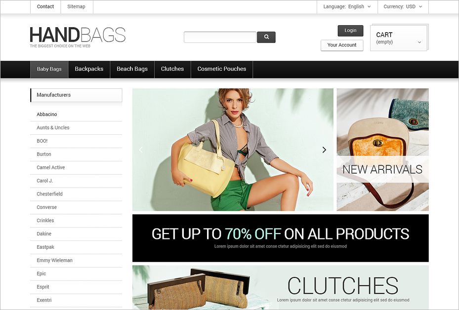 PrestaShop Fancy Handbags Online Store Theme