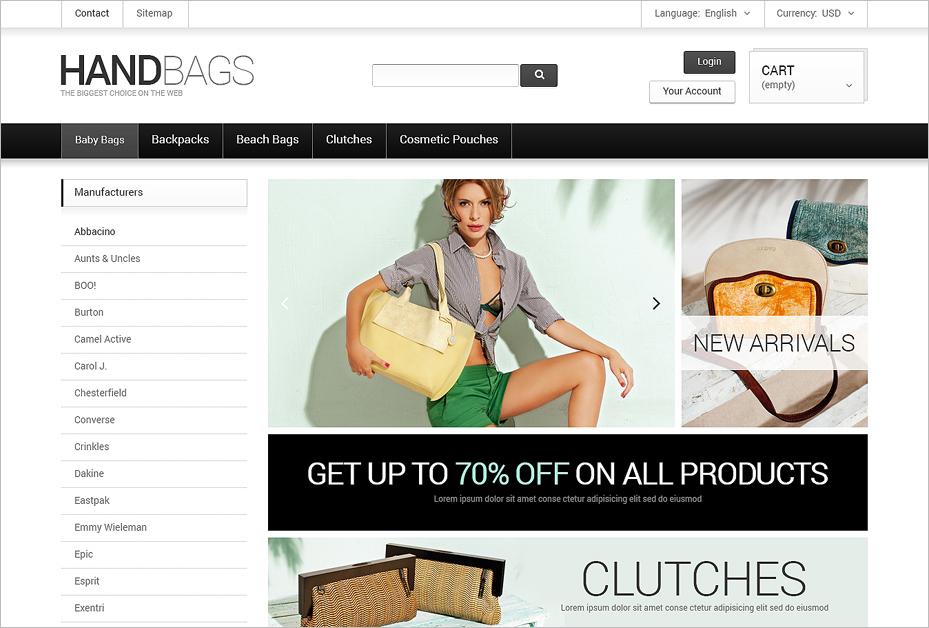 PrestaShop Fancy Handbags Online Store Theme