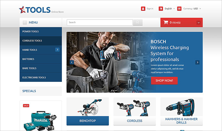 PrestaShop Template For Tools & Equipment Online Store