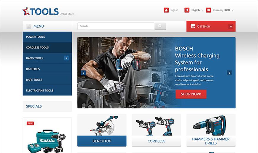 PrestaShop Template For Tools & Equipment Online Store