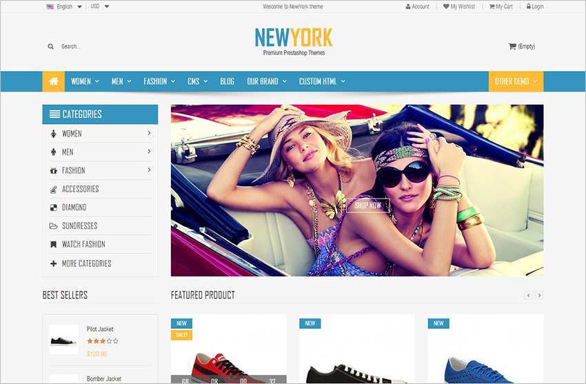 Prestashop Theme Fashion Store With Mega Menu