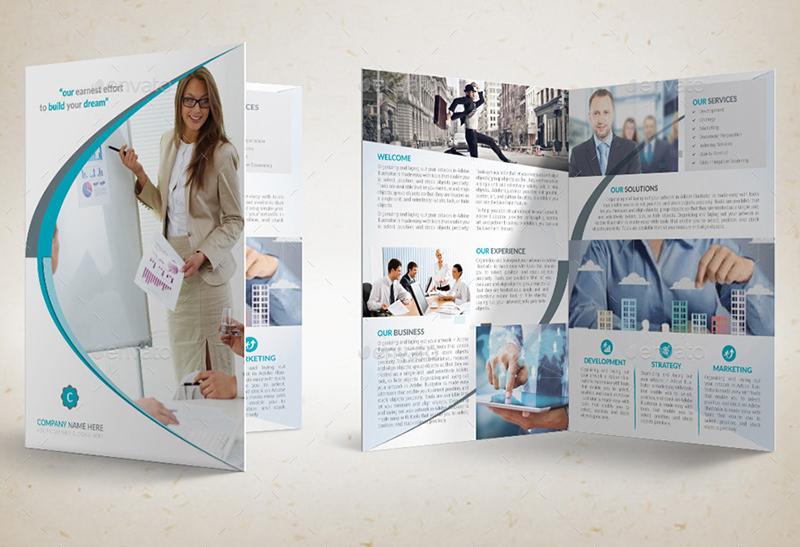 Printable Corporate Bi-Fold Brochure Template