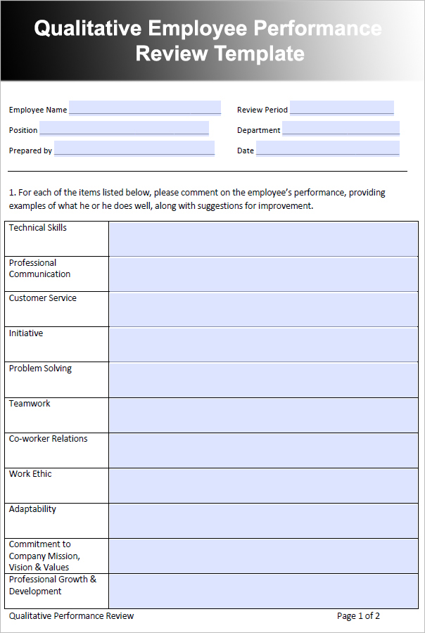 Doc564797 Free Performance Review Templates Free Employee – Free Performance Review Templates