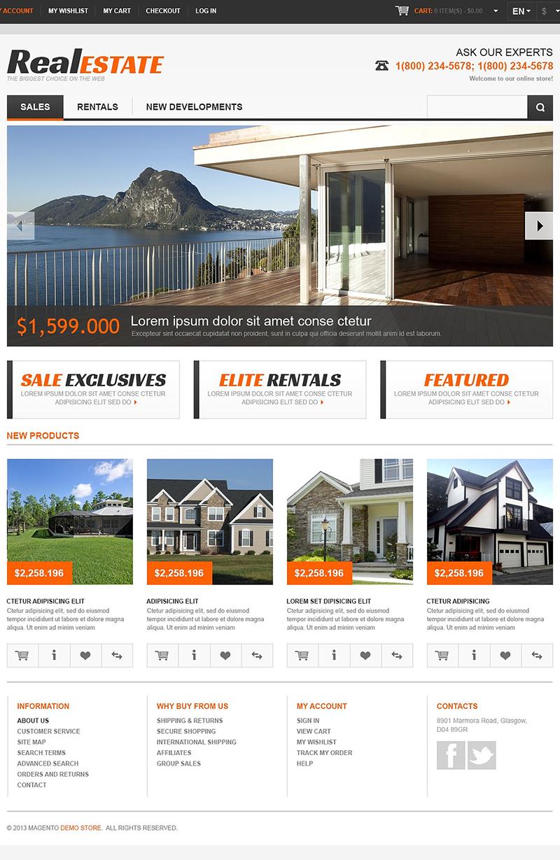 Responsive Magento Real Estate Templates Free & Premium Them
