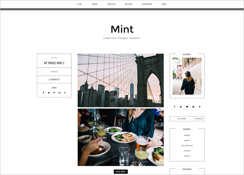Responsive Blog Template With Social Icons