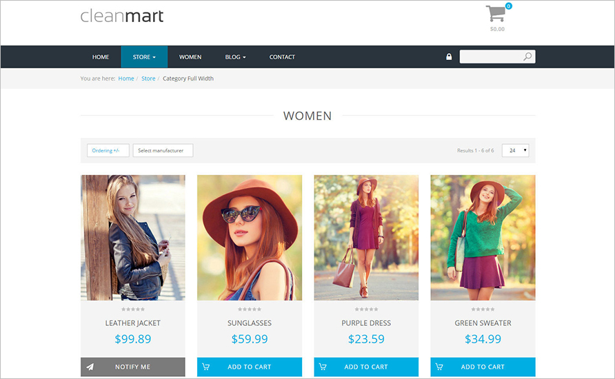 Responsive Clean Virtuemart Template With Mega Menu