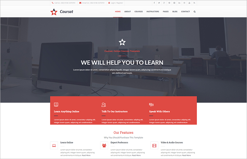Responsive Course HTML & CSS WebSite Template