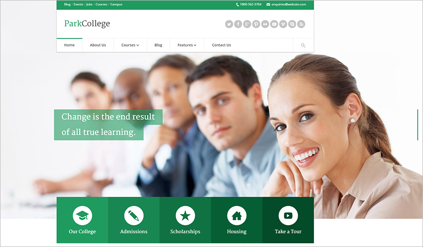 Responsive HTML Template For Education