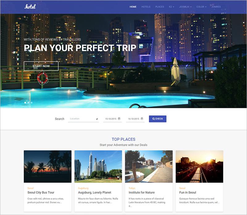 Responsive Joomla Hotel and Travel template