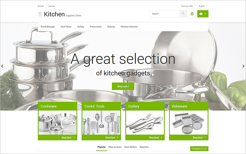 Responsive Kitchenware PrestaShop Template