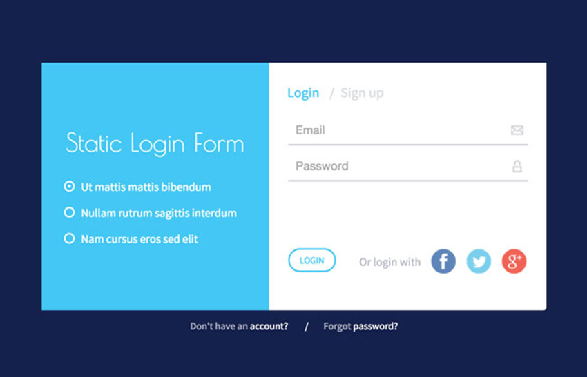 Responsive Login Form HTML5 Template