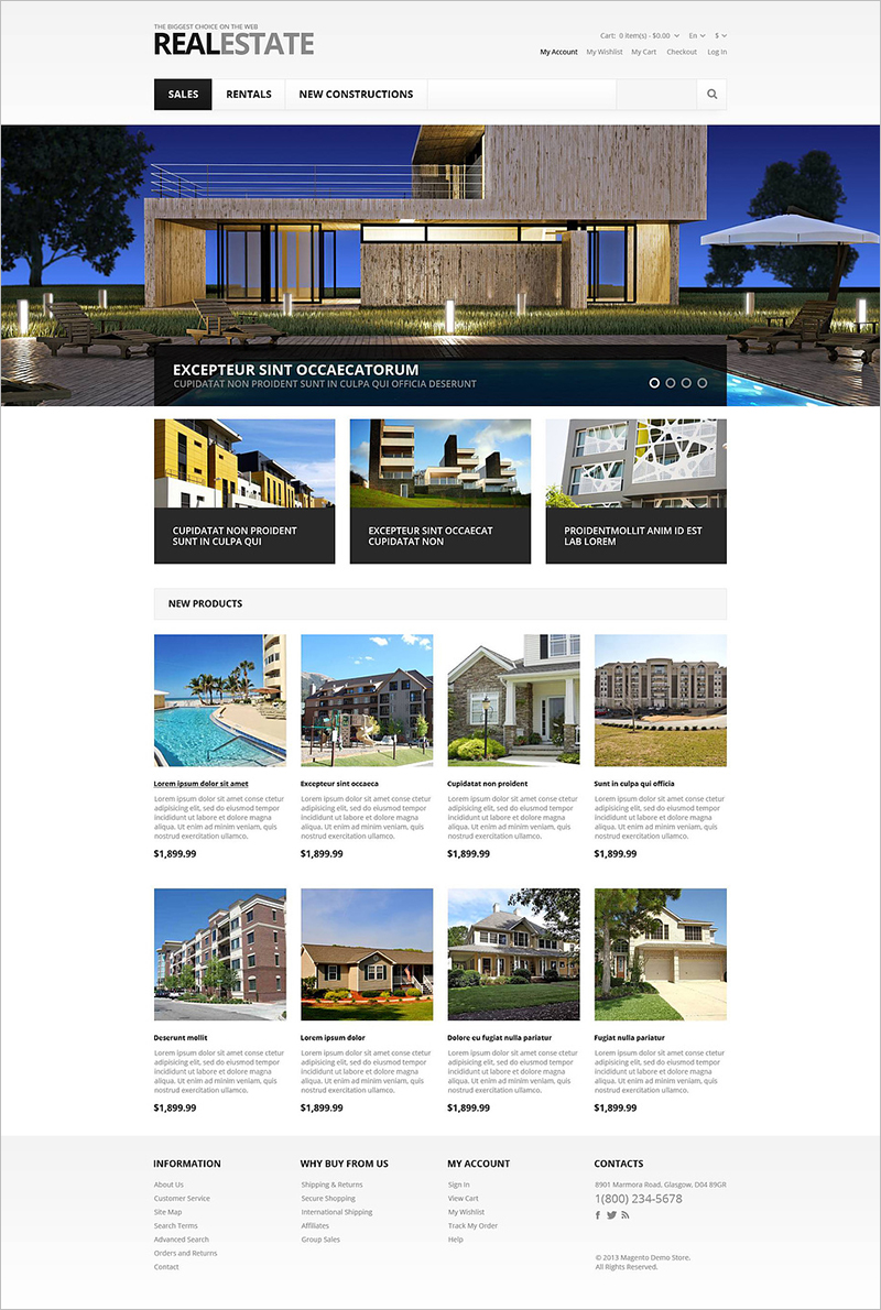 Responsive Magento Template for Real Estate Store