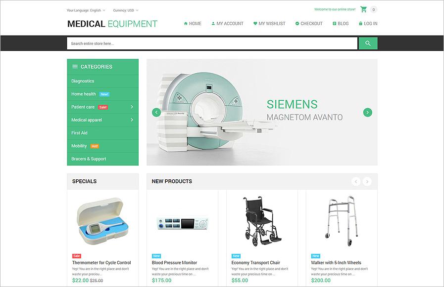 Responsive Medical Equipment Online Store WebSite Magento Template
