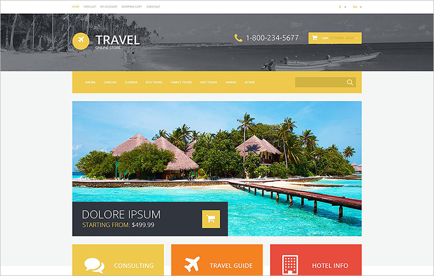 Responsive OpenCart Travel Template With JQuery