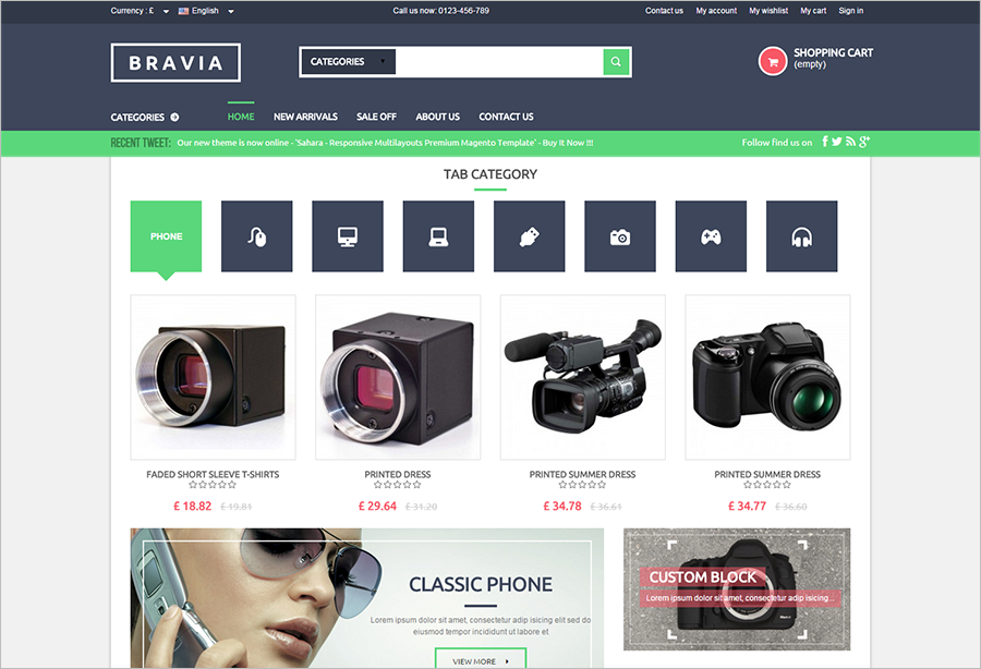 Responsive Prestashop Theme With Unlimited Color Options
