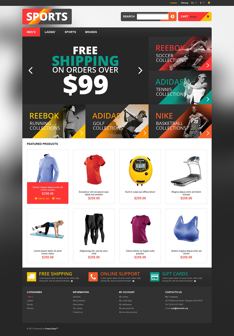 Responsive Sports Store PrestaShop Theme