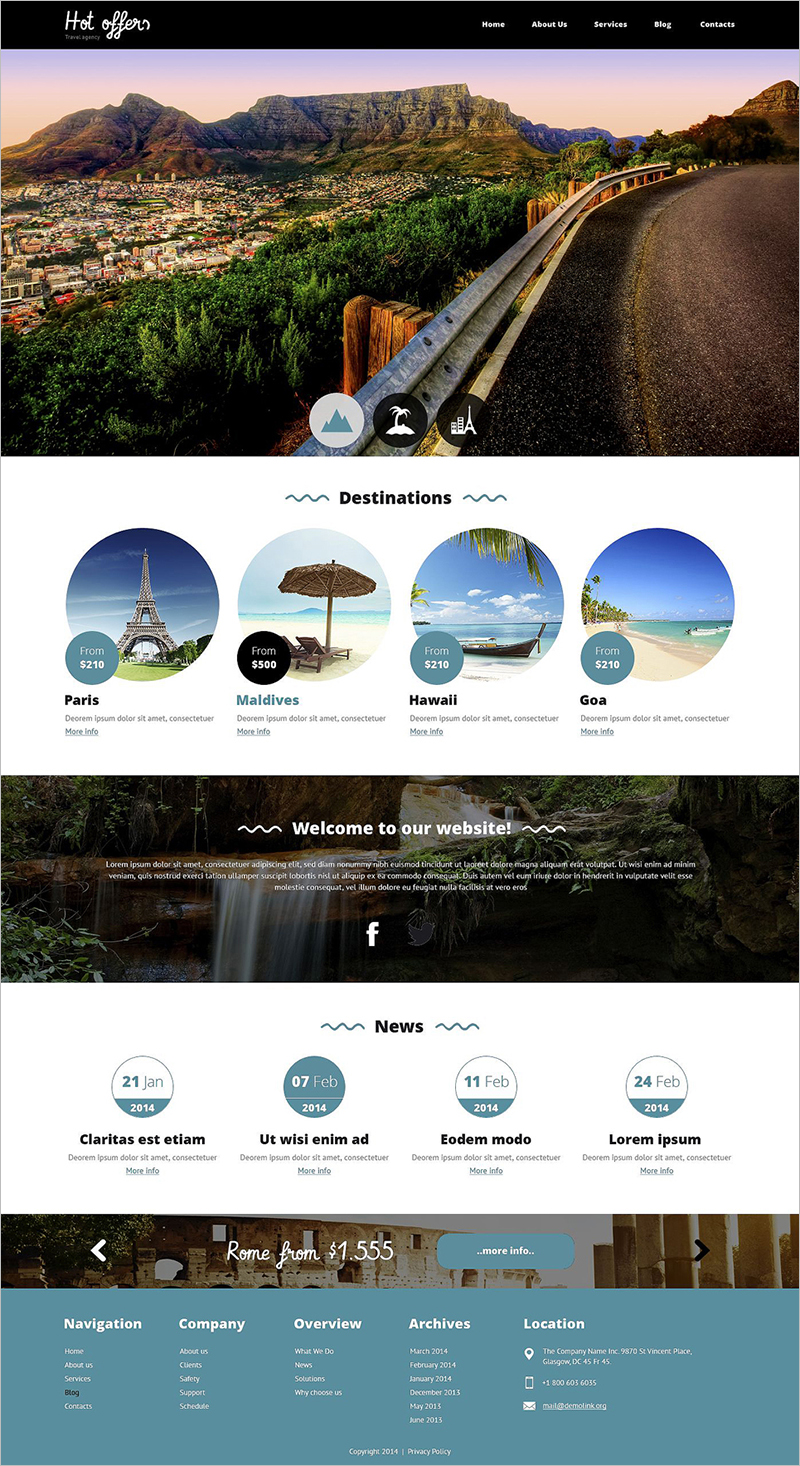 Responsive Travel Agency Drupal Template