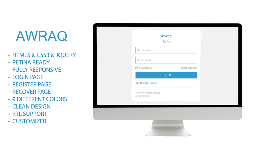 Responsive and Retina Ready HTML Login Page